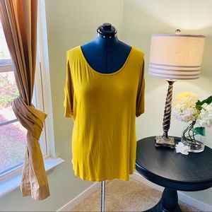 Cable&Gauge Mustard Cold Shoulder Shirt NWT Size1X